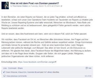 Feedback von Tina Kulow (Facebook Deutschland): Was ist mit dem Post von Domian passiert?