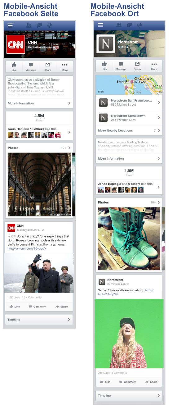 Mobile Ansicht von Facebook Seiten und Orte (Quelle: Facebook)