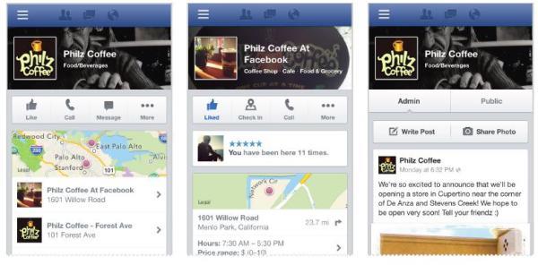Neues Layout für Facebook Mobile Seiten und Orte (Quelle: Facebook)