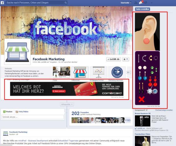 Beispiel - Facebook Seite mit eingeblendeten Ads von Drittanbieter (rot umrandet)