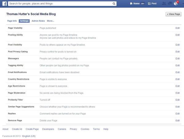 Neue Seiten Administration für Facebook Seiten - Bereich Einstellungen