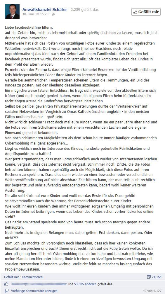 Beitrag der Anwaltskanzlei Schäfer