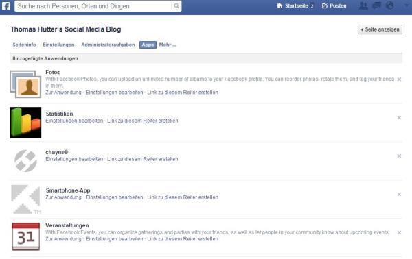 Apps im Administrationsbereich von Facebook Seiten