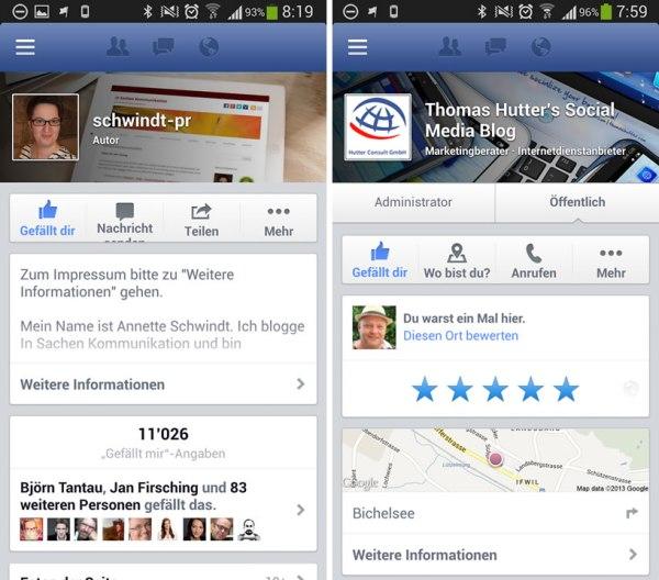 Vergleich Facebook Seite vs Facebook Ort in der mobilen Darstellung. Die Variante links zeigt Informationen zum Impressum, die Variante auf der rechten Seite nicht.