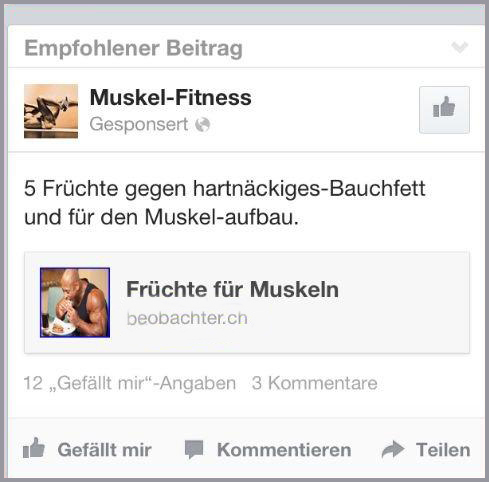 Muskel-Fitness Werbung vom Beobachter (Quelle: beobachter.ch)