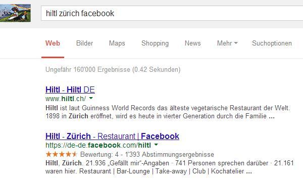 """Suche nach """"Hiltl Zürich Facebook"""" bei google.ch"""
