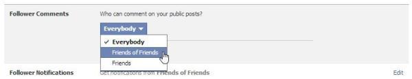 Beschränkung der Kommentarmöglichkeit bei öffentlichen Beiträgen