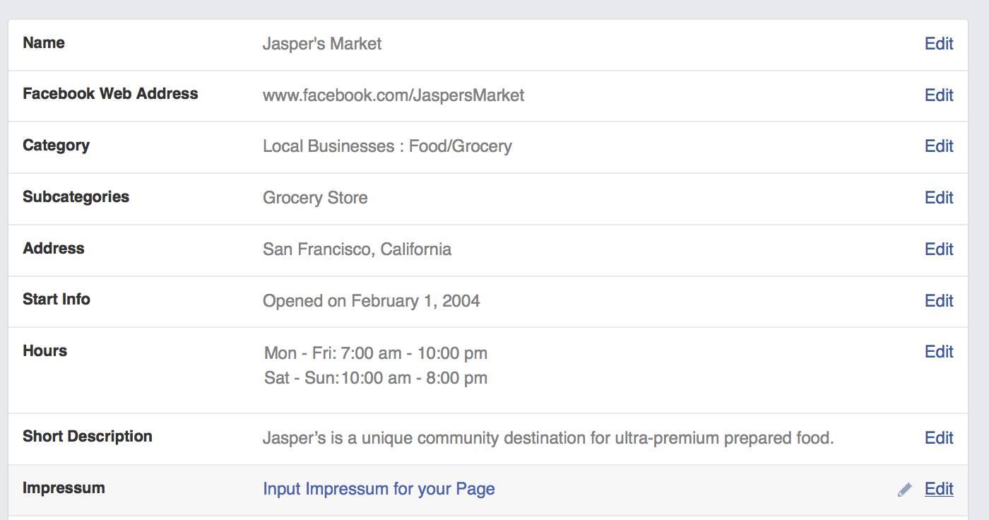 Facebook: Facebook Seiten neu mit Impressum (auch Mobile)