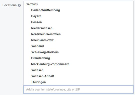 Auswahl nach Bundesländern