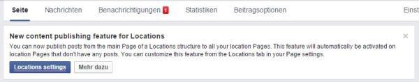 Hinweismeldung bei Facebook Location Struktur