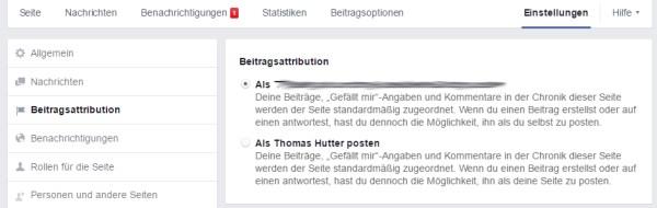 Betragsattribution in den Einstellungen der Facebook Seite