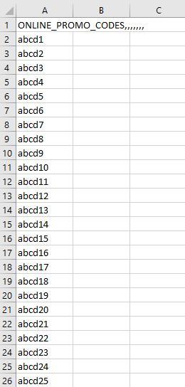 Beispiel einer CSV-Datei mit Unique Codes