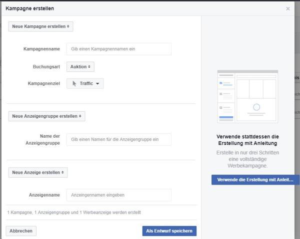 Schnell-Erstellungsvariante für Werbeanzeigen in Facebook