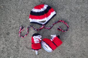 Crochet Skates and Helmet