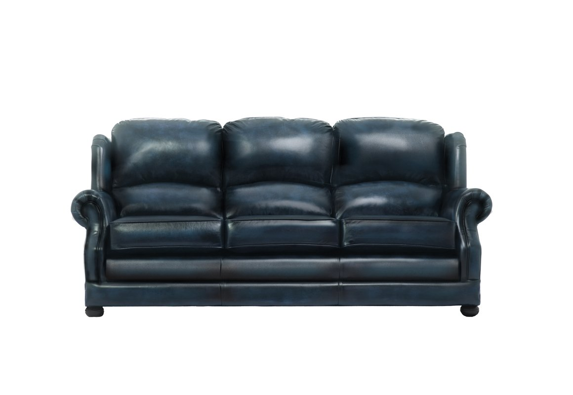 blue leather sofas sofa set brand names chesterfield and modern