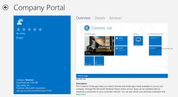 Windows intune Company Portal