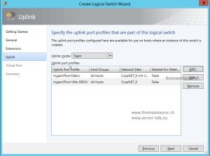 SCVMM Logical Switch Uplink Port Profile