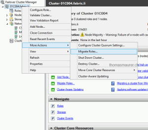 Failover Cluster Manager Migrate Roles