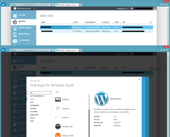 Windows Azure Website WordPress