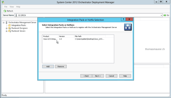 Cisco UCS Integration Pack Orchestator Deployment Manager