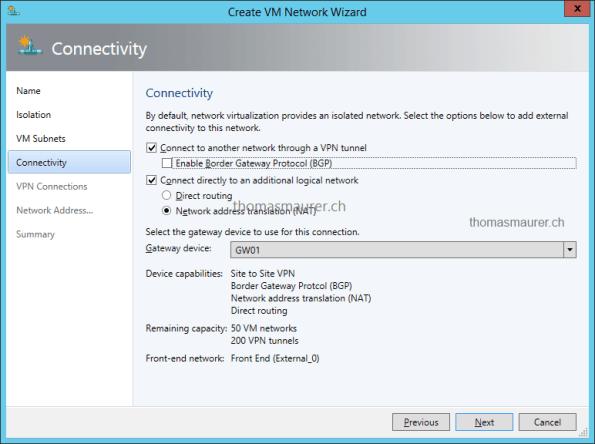 Hyper-V Network Virtualization Gateway VM Network Connectivity