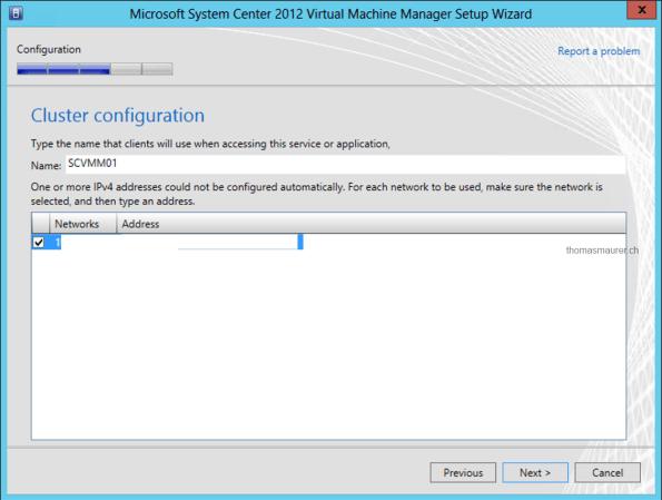Install SCVMM HA Cluster Configuration