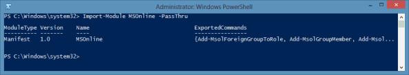 Import MSOnline PowerShell Module