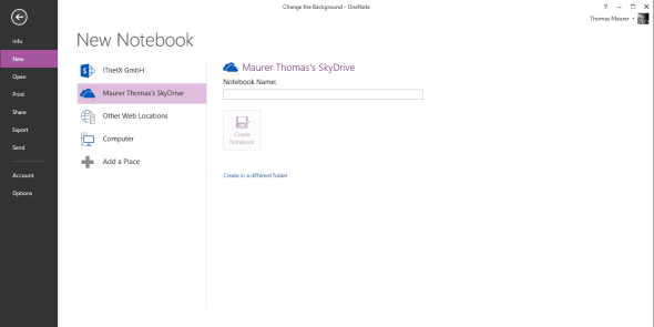 Notebook on SkyDrive