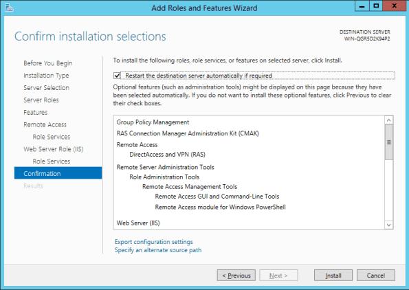 Remote Access Installtion Confirmation