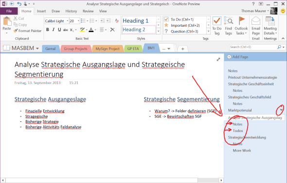 Create OneNote Subpages