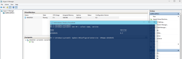 Hyper-V vNext Update VM Configuration Version