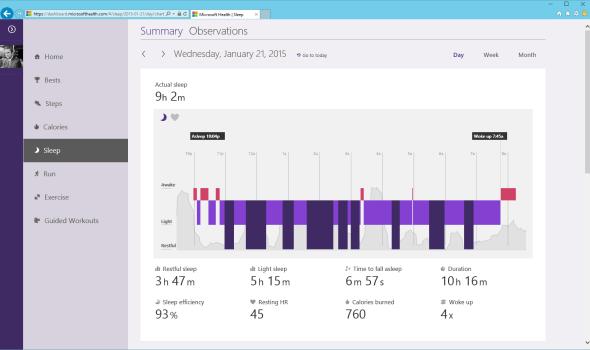 Microsoft Health Dashboard Sleep Summary