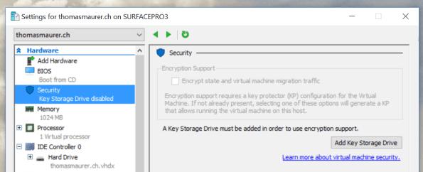 Hyper-V Key Storage Drive