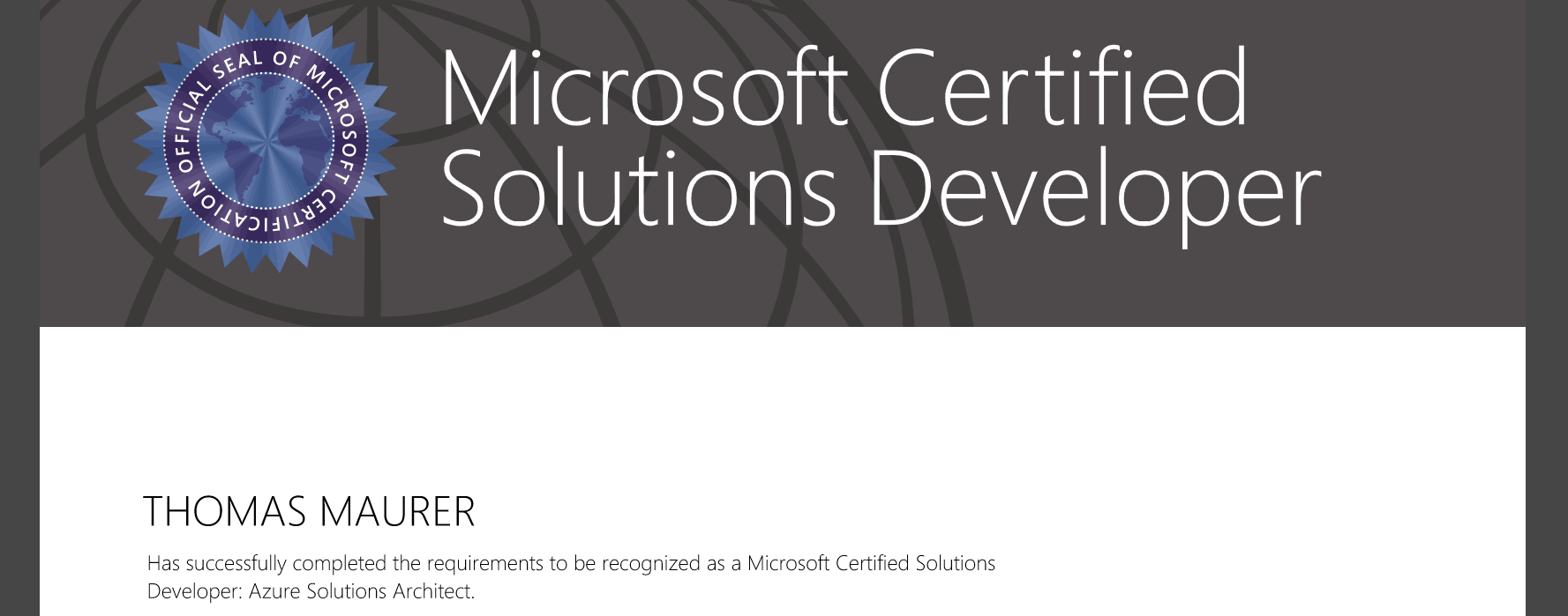 Mcsd azure solutions architect thomas maurer 1betcityfo Image collections