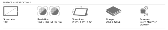 Surface 3 Specs