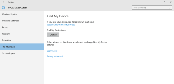 Windows 10 Find My Device