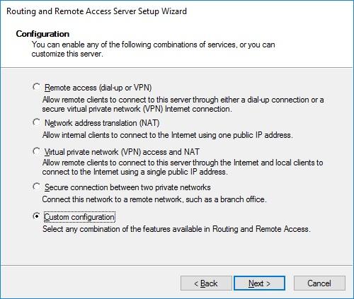 Custom configuration VPN