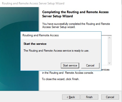 Start the service Routing and Remote Access