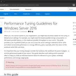 Performance Tuing Guidelines for Windows Server 2016