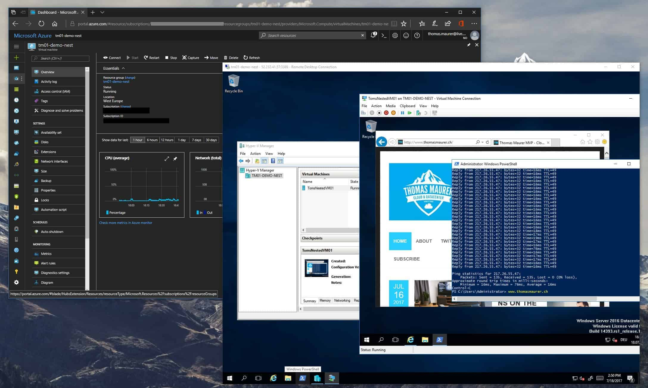 Now you can basically start to create Virtual Machines inside the Azure VM You can for example use an existing VHD VHDX or create a new VM using an ISO
