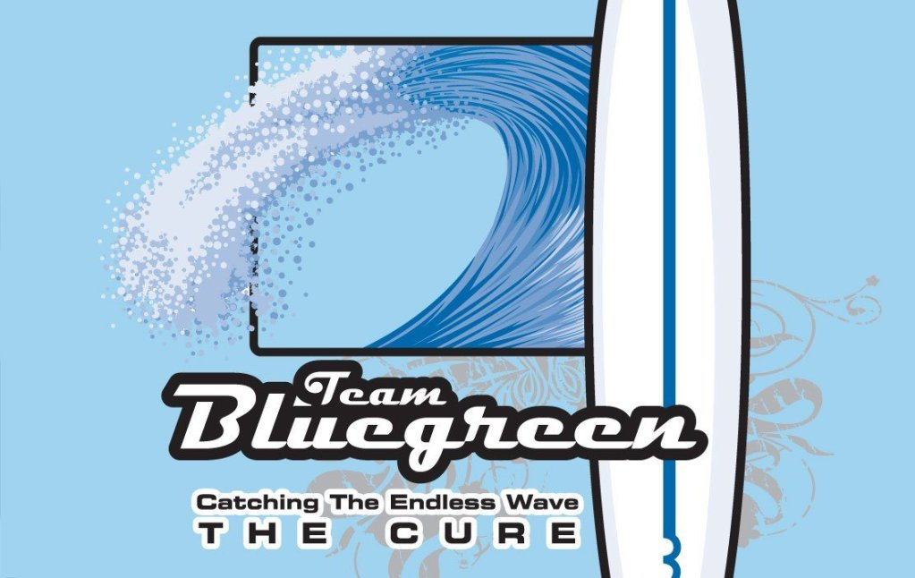 Team Bluegreen t-shirt design, back closeup