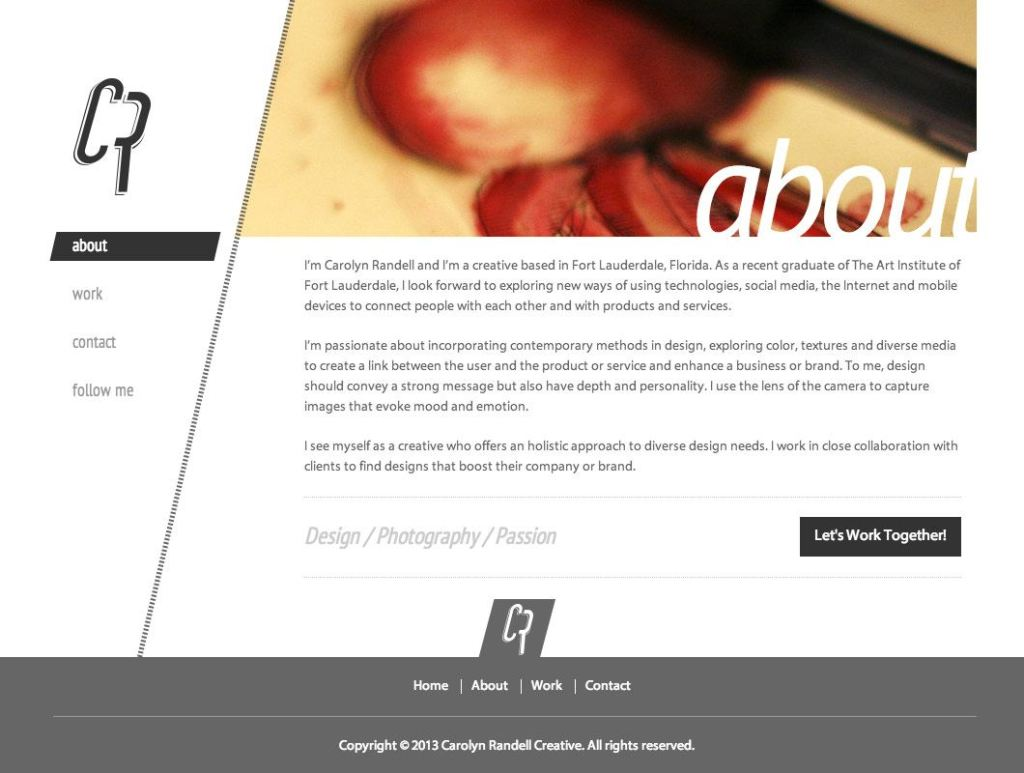 Carolyn Randell website design, about