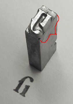 Metal type, showing point size
