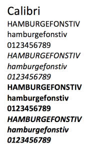 Calibri font samples