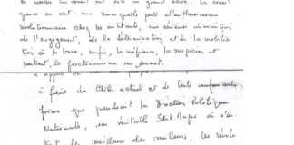 Discours manuscrit de Sankara pour prononcer le 15 octobre 1987