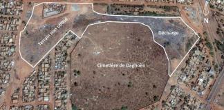 Le cimetière et ses alentours sur google earth.