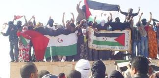 Manifestation du peuple saharaoui après l'assassinat de Lembarki Hamdi Salek, torturéà mort par la police marocaine en 2005