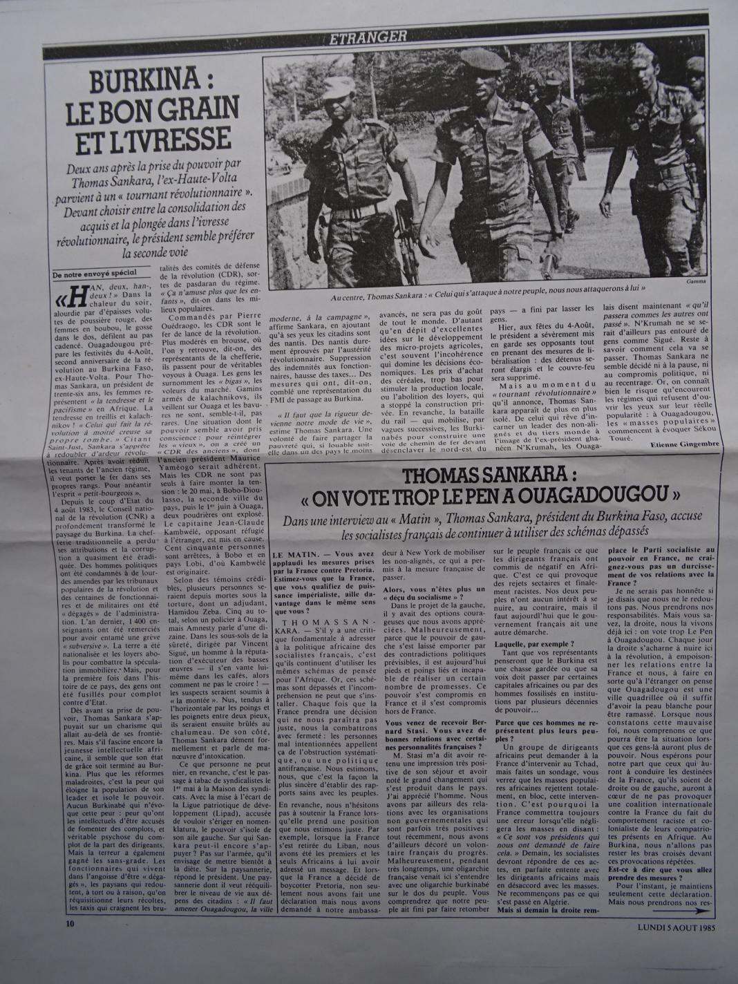 Matin de Paris 5 août 1985