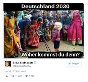 Mauerbauer Steinbach rassistisch © twitter