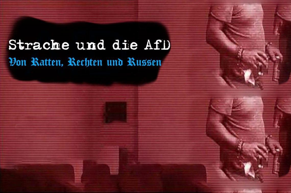 """Artikelbild, in rötlichem Braun gehalten. Darauf der Text: """"Strache und die AfD"""": Von Ratten. Rechten und Russen."""""""